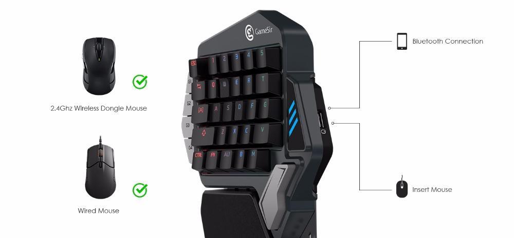 Bàn Phím Cơ GameSir Z1 Keypad Hỗ Trợ Chơi Game Pubg, Fortnite, Rules of Survival Moblie Bằng Chuột Và Bàn Phím Cho iPhone, Ipad và Android, PC!